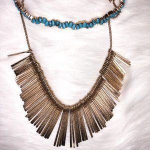 BaubleBar Set of Turquoise & Gold Necklaces